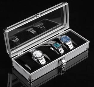 Elegant Aluminium Watch Box 6 Slots