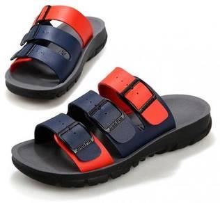 S0235 Blue Suede Slide Sandal Buckle Slip On Shoes