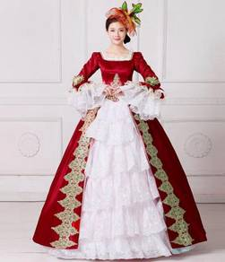 Red White Ball Gown Dress Wedding RBMWD0044
