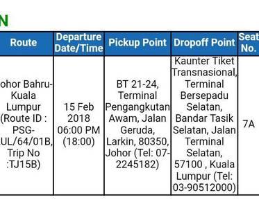 Ticket Bus dari Johor ke kuala lumpur 15/08/2018