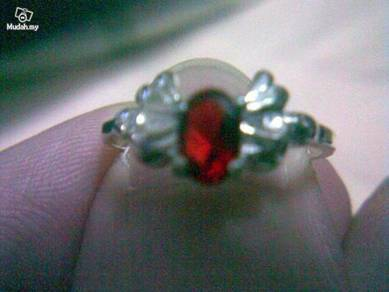 ABRSB-W017 Wing Silver Red Bead Ring - Size 6.25