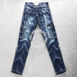 S4572 Roll-Up Multi-Pocket Baggy Style Jeans Pants