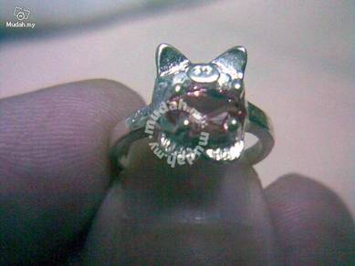 ABRSB-P010 Piggy Silver Pink Bead Ring - Size 4