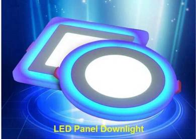 Led 2 color 18W+6W (white+blue)panel downlight