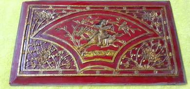 EEQ Antik panel kayu peranakan kuda warrior