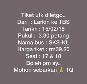 Tiket Bas Larkin-TBS