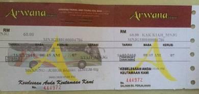 Tiket bas manjung johor 16/2/2018 8:45am