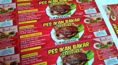 Sticker Label Produk Makanan Pes Ikan Bakar Custom