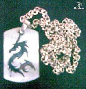 ABPSS-D001Dragon-embed Nacklace Silver Stainless