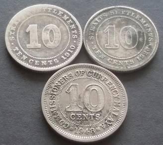 Duit Syiling 10 Cents1910,1926, 1948 (3 pcs)