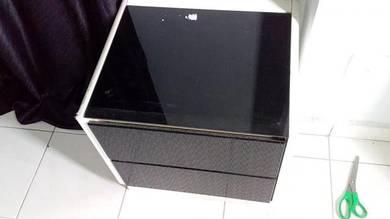 Glass Top White Black Cabinet TL223