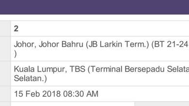 Larkin to kl bus ticket cheap sale