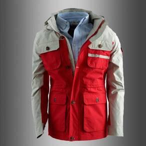 9307 Tactical Red Hoodie Military Hiking Jacket