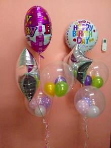 Foil balloon + star + transperant balloon