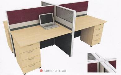 Office Table Workstation partition for 4 Pax