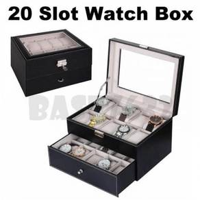 20 Slot Premium PU Leather Display Watch Storage