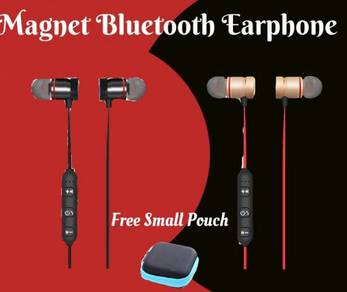 Magnet Wireless Earphone free small pouch M9 merah