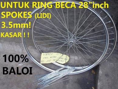 Spoke Basikal antik 28 Rim lidi beca 3.5mm kasar