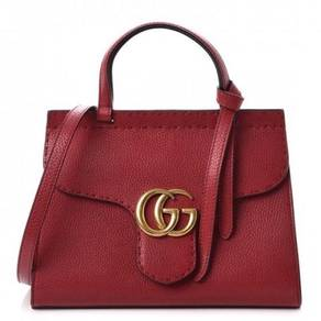 GUCCI Calfskin Mini GG Marmont Top Handle Bag