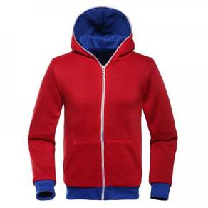 Red Blue Colorful Zipper Hoodie Men Sweater