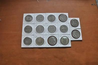 RM1 Coin 1969-1986 14 pcs