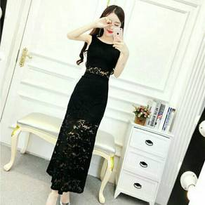 Lace Mesh Splice Slim Midi Dress (KR086612)