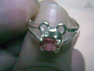 ABRSB-M004 Mouse Silver Pink Bead Ring - Size 5.5