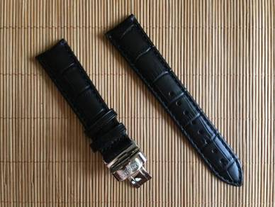 LONGINES 20mm Black Genuine Leather Watch Strap