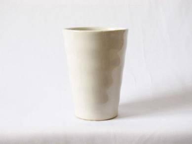 White glazed ceramic vase
