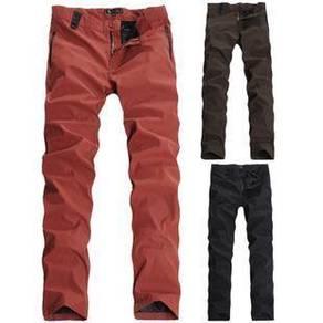 0454 Orange Army Green Casual Slim Straight Pants