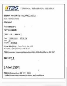 Tiket bas [TBS -JB(larkin)]