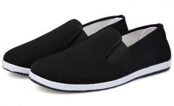 S0268 Black Canvas Slip On Casual Loafer Shoes