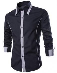 0538 Black Formal Men Long SLeeve Business Shirt
