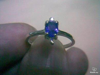 ABRSB-T002 Turtle Silver Blue Bead Ring - Size 5.5