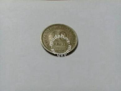 EEQ Duit syiling COC malaya 10 cents 1950 coin