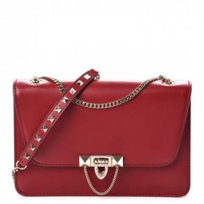 VALENTINO Vitello Small Demilune Shoulder Bag Red
