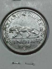 Vintage India King George VI 1/4 Rupee Coin 1946