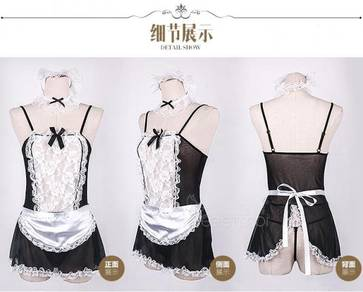 Japan Maid outfit strapless dress Anime cosplay