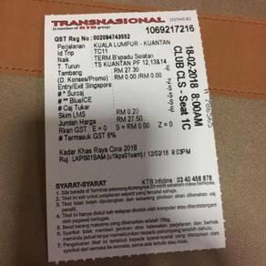Tiket Bus Untuk Di Jual (TBS - Kuantan)