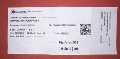 Bus Ticket JB-KL(CNY)