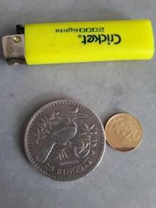 Malaysian Old Coin 25 ringgit tahun 1976 Enggang