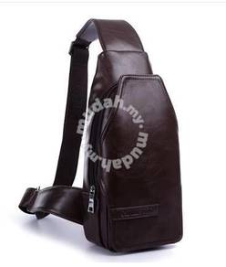 Men Pu Leather Chest Bag Outdoor Bag Travel Bag