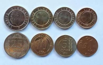 Turkey 2015 4 pcs 1 5 10 25 kurus unc coins