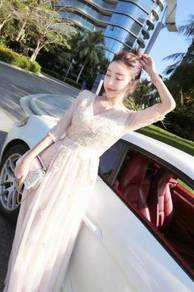Grey gold long sleeve prom bridesmaid dress RBP092