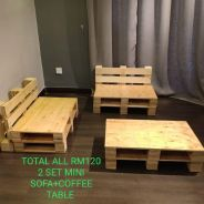 MiNI SOFA PALLET + COFFEE TABLE CANTIK (24JAM)