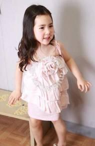 (WJ0025-90) Girl Princess Sundress - Pink
