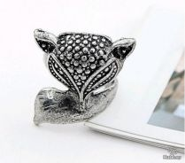 ABRSM-F006 Lively Fox Silver Metal Ring - Size 6.5