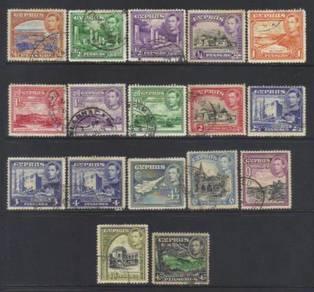 Cyprus kgvii 1938-51 sg151-161 used cat 18 bl397