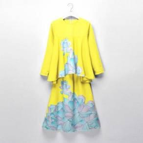 LNICE Minaz Inspired Floral Peplum Kurung YELLOW