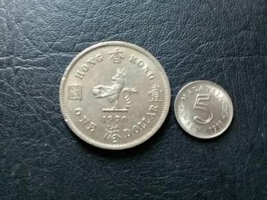 119 One dollar hong kong 1970 coin syiling